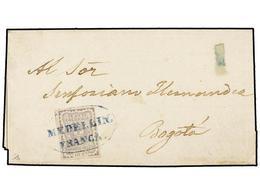 COLOMBIA. Sc.46. 1868 (13 Enero). MEDELLIN A BOGOTÁ. 10 Cts. Lila, Mat. Ovalado MEDELLIN/FRANCA En Azul. Cert. B. MOORHO - Unclassified