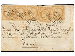 GUADALUPE. 1872. BASSE-TERRE A FRANCIA. 10 Cts. Bistre (5). Mat. Parrilla De Puntos Y Fechador PAQ. FR/BASSE-TERRE GUADE - Unclassified