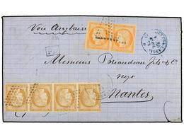 GUADALUPE. 1874. POINTE A PITRE A FRANCIA. 15 Cts. Bistre Tira De Cuatro (pliegue De Archivo) Y 40 Cts. Naranja Pareja.  - Unclassified