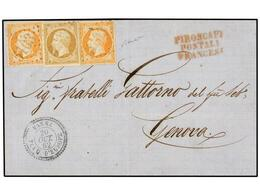 LEVANTE: CORREO FRANCES. 1862. VARNA (Bulgaria) A GÉNOVA. Circulada Con Sellos Franceses De 10 Cts. Bistre Y 40 Cts. Nar - Briefmarken