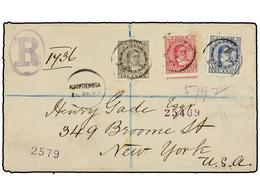 COOK. Sg.6, 8, 9. 1895. RAROTONGA To NEW YORK. Envelope Franked With 1 D. Blue, 2 1/2 D. Rose And 5 D. Grey On Registere - Unclassified