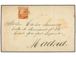 ESPAÑA. Ed.12. 1852. GIBRALTAR A MADRID. 6 Cuartos Rosa, Mat. PARRILLA Y Marca Prefilatélica DE GIBA/S. ROQUE/ESTM. BAXA - Briefmarken