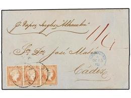 ESPAÑA. Ed.48 (3). 1858. GIBRALTAR A CÁDIZ. 4 Cuartos Rojo Tira De Tres. Mat. R.C. 3 De Cádiz Estampado A La Llegada. Fe - Briefmarken