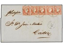 ESPAÑA. Ed.48 (5). 1859. GIBRALTAR A CÁDIZ. 4 Cuartos Rojo (5). Mat. R.C. 63 De San Roque. Precioso Y MUY RARO Franqueo. - Unclassified