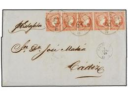 ESPAÑA. Ed.48 (5). 1859. GIBRALTAR A CÁDIZ. 4 Cuartos Rojo (5). Mat. R.C. 63 De San Roque. Precioso Y MUY RARO Franqueo. - Briefmarken