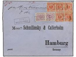 COSTA DE ORO. 1894 (1 Feb.). ACCRA To HAMBURG (Germany) Blue Linen-backed Envelope From ACCRA To HAMBURG, Germany, Marke - Unclassified