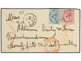 LAGOS. 1874 (7-Dec.). Envelope Ex De 'BAILEY' Correspondence Registered To WOLVERHAMPTON, Bearing 4 D. Carmine And 6 D.  - Unclassified