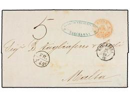 MALTA. 1859. BARCELONA A MALTA. Circulada Vía Francia, Marca De Intercambio FR/1F 45c. No Reseñada. MUY RARA. - Unclassified