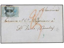 MAURICIO. Sg.47 (2). 1860. PORT LOUIS To ST. DENIS (Reunion). 2 D. Blue (2), Unusual Interisland Mail. - Unclassified