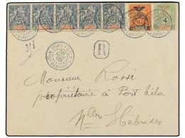 NUEVAS HEBRIDAS. Yv.48 (5), 77, 84. 1908. PORT VILA To NEW HEBRIDES. 25 Cts. Blue (5), 40 Cts. Orange, 4 On 5 Cts. Green - Unclassified