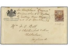 NEWFOUNDLAND. Sc.142a. 1919 (19 Abril). S. JOHNS A INGLATERRA. 3 Cts. Castaño Con Habilitación A Mano AERIAL ATLANTIC MA - Unclassified
