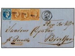 GRECIA. Ed.Vl.29b,32. 1865. KERKYRA A LEFKAS. 2l. Castaño (3) Y 20l. Azul (Mi. 17,20). Ligero Pliegue Vertical Que Afect - Briefmarken
