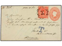 GUATEMALA. Sc.12. 1878. COBAN A ALEMANIA. Entero Postal De 2 Reales Rojo Con Franqueo Adicional De 2 Reales Rosa Para Co - Briefmarken