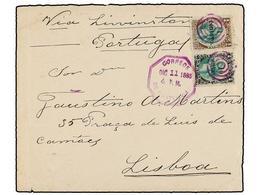 GUATEMALA. Sc.17, 19. 1885. GUATEMALA A LISBOA (Portugal). 1 Ctvo. S. 1/4 Ctvo.  Castaño Y Verde Y 10 Ctvos. S. 1 Real N - Briefmarken