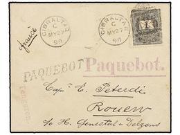 HUNGRIA. 1898. Envelope To FRANCE. 1 Fil. Black Tied By GIBRALTAR/A26 Duplex And Violet And Black PAQUEBOT Mark, Arrival - Briefmarken