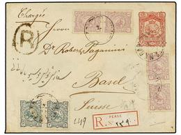 IRAN. Sc.90 (4), 91 (2). 1897. SULTANABAD To SWITZERLAND. 16 Ch. Red Postal Stationary Envelope Uprated With 1 Ch. (4) A - Unclassified