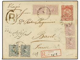 IRAN. Sc.90 (4), 91 (2). 1897. SULTANABAD To SWITZERLAND. 16 Ch. Red Postal Stationary Envelope Uprated With 1 Ch. (4) A - Briefmarken