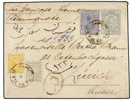 IRAN. Sc.104, 108, 113. 1897. ISPAHAN To SWITZERLAND. 10 Ch. Grey Postal Stationary Envelope Uprated With 1 Ch., 5 Ch. A - Briefmarken