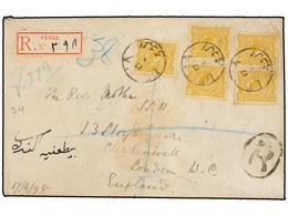 IRAN. 1898. URMIA To LONDON. 5 Ch. Yellow (5). Registered Cover. - Briefmarken