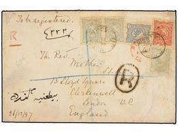 IRAN. 1898. URMIA To LONDON. 1 Ch. (3), 10 Ch. And 12 Ch. Registered Cover. Some Edge Wear. - Briefmarken
