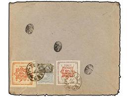 IRAN. Sc.179, 253, 283. 1902. Envelope To TEHERAN With Provisionals 10 Ch. Grey And 5 Ch. Red, 1 Kr. Violet Tied By TEHE - Briefmarken