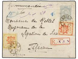 IRAN. Sc.283, 284. 1902. TAURIS To TEHERAN. 10 Ch. Grey Postal Stationary Envelope Uprated With Provisional 5 Ch. And 10 - Unclassified