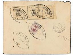 IRAN. Sc.423 (3), 357. 1903. MECHEDISSER To FRANCE. 2 Ch. Grey Strip Of Three Provisional Stamps And 1 Kr. Violet. Rare  - Briefmarken