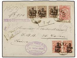 IRAN. Sc.400 (2), 401 (3). 1904. SULTANABAD To SWITZERLAND. 12 Ch. Rose Postal Stationary Envelope Overprinted IMPERIAL  - Briefmarken