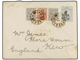 IRAN. Sc.352 (2), 400. 1905. TEHERAN To GREAT BRITAIN. 6 Ch. On 10 Ch. Grey Postal Stationary Envelope Uprated 2 Ch. (2) - Briefmarken