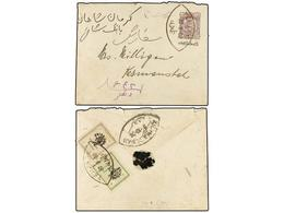 IRAN. Sc.423, 424. 1906. TEHERAN To KERMANCHAN. 1 Kr. Violet Postal Stationary Envelope Overprinted IMPERIAL POST And Up - Briefmarken