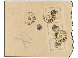IRAN. Sc.423 (3). 1907. TEHERAN To SULTANABAD. 2 Ch. Grey Strip Of Three. Rare Franking. - Briefmarken