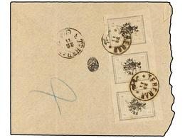 IRAN. Sc.423 (3). 1907. TEHERAN To SULTANABAD. 2 Ch. Grey Strip Of Three. Rare Franking. - Unclassified