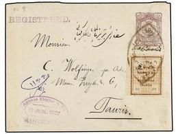 IRAN. Sc.426. 1907. SULTANABAD To TAURIS. 1 Kr. Violet Postal Stationary Envelope Overprinted IMPERIAL POST And Uprated  - Briefmarken