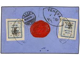 IRAN. Sc.427. 1907. SULTANABAD To TEHERAN. 13 Ch. Blue (2) Provisional Stamps. Very Fine Registered Cover. - Briefmarken