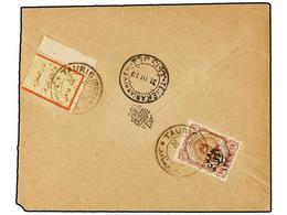 IRAN. Sc.608. 1919. TAURIS To TEHERAN. 6 Ch. On 10 Ch. And FAMINE RELIEF STAMP Of 1 Ch. Rare On Cover. - Unclassified