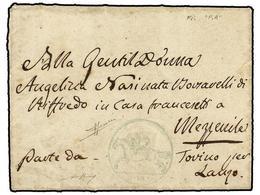 ITALIA ANTIGUOS ESTADOS: CERDEÑA. 1819 (1 Enero). TORINO A MEZZENILE. Carta Completa Con 'Cavallini'  De 15 Cts. Estampa - Stamps