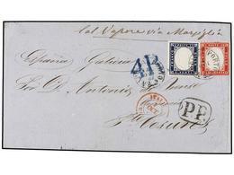 ITALIA. 1862. NAPOLI A PUENTE CESURES (Galicia, España). FRONTAL Circulado Con Sello De Cerdeña De 20 Cts. Azul Y De Ita - Unclassified