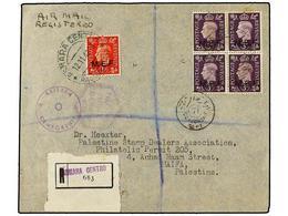 ERITREA. Sa.1I, 4 (4). 1942 (12-11). ASMARA A AIFA (Palestina). 1 D. Rojo (tiraje De Nairobi) Y 3 D. Lila, Bloque De Cua - Briefmarken