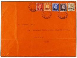 ERITREA. Sa.1/5I. 1942 (21-3). ASMARA A EL CAIRO. Serie Completa (tirada De Nairobi), Mat. ASMARA/A.D. En Carta No Circu - Briefmarken