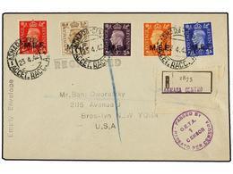 ERITREA. Sa.1/5II. 1942 (23-IV). ASMARA A USA. Serie Completa (tirada Del Cairo), ASMARA-CENTRO, Al Dorso Llegada. - Briefmarken