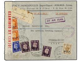 ERITREA. Sa.1/5. 1942 (16-12). ASMARA A ADEN. 2 D. (2), 2 1/2 D., 3 D. (3) Y 5 D. (tirada Del Cairo), Mat. ASMARA-CENTRO - Briefmarken