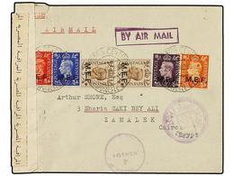 ERITREA. Sa.1/4 Y 5 (2). 1942 (24-XII). ASMARA A EL CAIRO (Egipto). 1 D., 2 D., 2 1/2 D., 3 D. Y 5 D. (2), Mat. ASMARA-C - Briefmarken