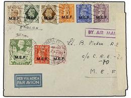 ERITREA. Sa.6/14. 1943 (23-II). ASMARA A C.R.E.-70 (M.E.F.). Serie Hasta El 2/6 Sh. Etiqueta De Censura Y Llegada. - Briefmarken