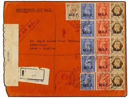ERITREA. Sa.6 (5), 8 (5), 10, 13 (5). 1943 (20-XII). ASMARA A ADEN (Arabia). 1 D. Rojo (5), 2 1/2 D. Azul (5), 5 D. Cast - Briefmarken