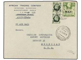 ERITREA. Sa.12 (2), 14. 1945 (16-X). ADDIS-ABEBA A USA. 9 D. Verde (2) (uno Defecto) Y 2/6 Sh. Verde, Mat. ASMARA CENTRO - Briefmarken