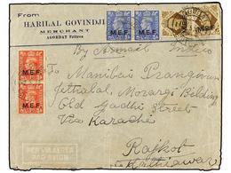 ERITREA. Sa.6 (2), 8 (2), 13 (2). 1946 (2-V). AGORDAT A INDIA. 1 D. Rojo (2), 2 1/2 D. Azul (2) Y 1 Sh. Castaño (2), Al  - Briefmarken