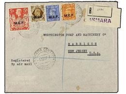 ERITREA. Sc.8, 9, 13, 15. 1947 (3-XII). ASMARA A USA. 2 D. Naranja, 2 1/2 D. Azul, 1 Sh. Castaño Y 5 Sh. Rojo, Mat. ASMA - Briefmarken