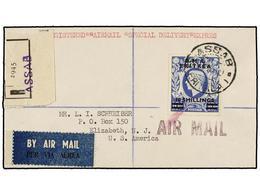 ERITREA. Sa.26. 1949 (9-IX). ASSAB A USA. 10 Sh. S. 10 Sh. Azul, Mat. ASSAB/ERITREA, Al Dorso Llegada. Rarísimo Sello En - Briefmarken