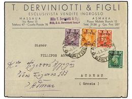 ERITREA. Sa.14, 15, 16, 18. 1950 (5-V). ASMARA A ATENAS. 5 Cents. S. 1/2 D.  Verde, 10 Cents. S. 1 D. Rojo, 20 Cts. S. 2 - Briefmarken