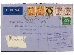 ERITREA. Sa.14, 16 (2), 20 (2), 23. 1951. ASMARA A ALEMANIA. 5 Cents. S. 1/2 D. Verde, 20 Cents. S. 2 D. Naranja (2), 50 - Briefmarken